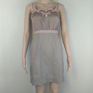 [Loft] Pink Ribbon Trim Gathered Bust Dress 0p